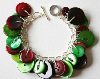 Button Charm Bracelet Emerald Green and Berry Red
