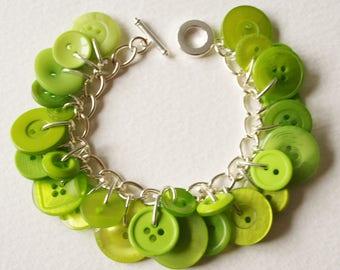 Button Charm Bracelet Lime Citrus Green