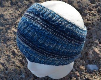 Grade Headband - Hand Knit in Shades of Blue Using Durable Sock Yarn. Textured Knit Ski Headband Multicolor Original Design Sample Sale