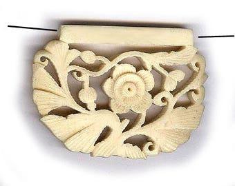 "vintage CARVED BONE bead pendant size floral carved bone bead ORGANIC natural bead one bead 2"" x 1-3/8"" antique bone bead detailed"