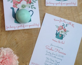 It's time for tea with mom-to-be! Baby shower invitation and EOS lip balm favor, teapot, flowers, bouquet, aqua, pink,white, teal, thank you