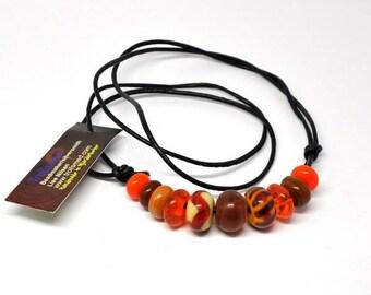 Handmade beads. Orange and brown bead set /necklace/bracelet for vikings
