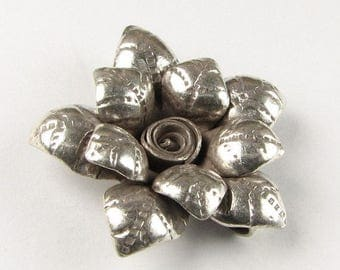 SHOP SALE Pointed Petals Flower Hill Tribe Fine Silver .999 Charm Pendant (1 piece)