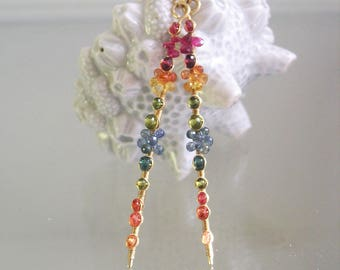 14k Solid Gold Multi Sapphire Linear Earrings, Long Stems with Tourmaline, Vesuvianite, Apatite