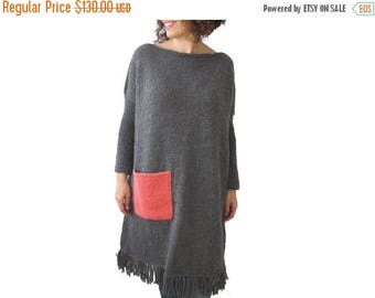 20% WINTER SALE Dark Gray Hand Knitted Dress with Pink Pocket