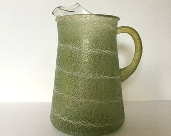Olive Green Spaghetti Glass Iced Tea Pitcher Replacement Mid Century