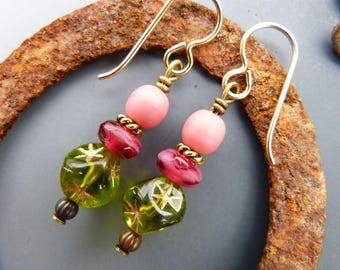 Pink and Olive Green Earrings with Stars