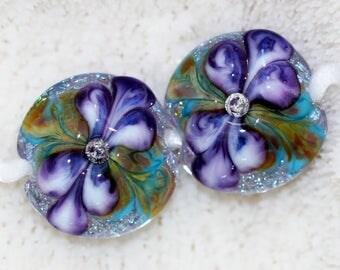 handmade butterfly wing floral lampwork beads by joycelo