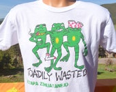 vintage 90s t-shirt TOADILY WASTED party frogs beer mexico zihuatanejo tee Large Medium wtf