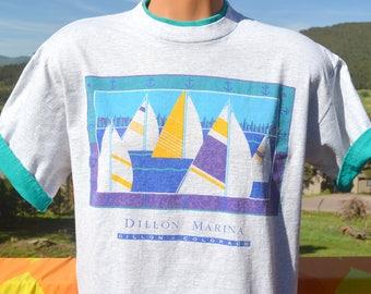 90s vintage t-shirt DILLON MARINA lake colorado roll up sleeve ringer tee Large Medium sail 80s