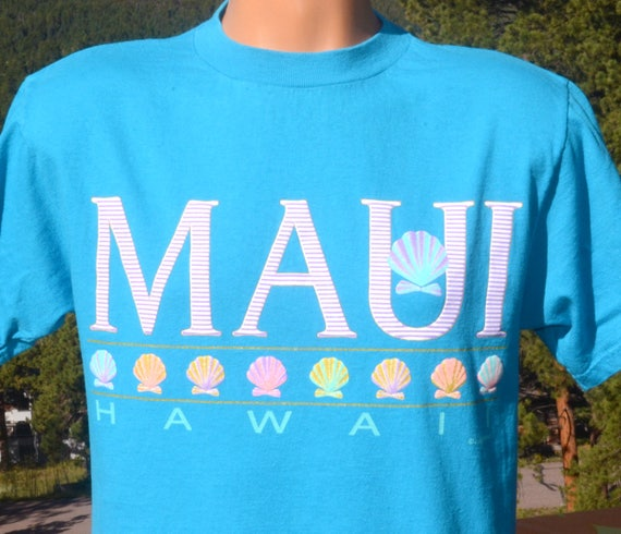 vintage 90s t-shirt HAWAII maui surf sail beach sea shells teal tee Medium