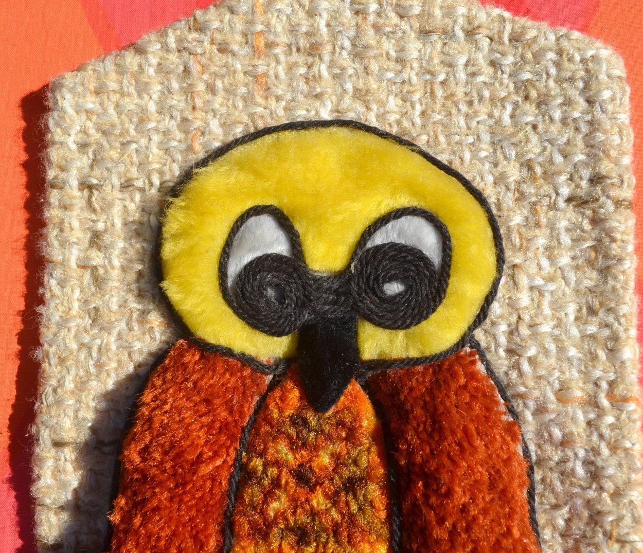 vintage 70s art wall hanging OWL retro latch hook woven animal decor ...