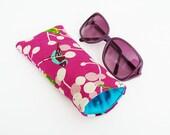 Glasses case, leaf and bird fabric, pink cotton bird design, cotton case