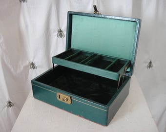 Vintage Green and Gold Jewelry Box, Ivory, Green Velvet, Fleur De Lis, Embossed, Two Tiered, Treasure Chest