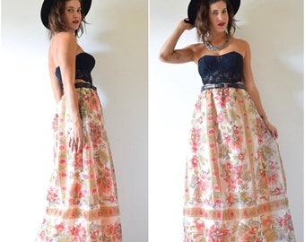 SUMMER SALE / 20% off Vintage 60s 70s Lady of the Canyon High Waisted A Line Floral Organza Maxi Skirt (size medium, large)