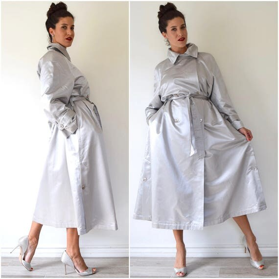 SUMMER SALE / 20% off Vintage 80s 90s Louis Feraud Futuristic Liquid Silver Satin Double Breasted Trench Coat