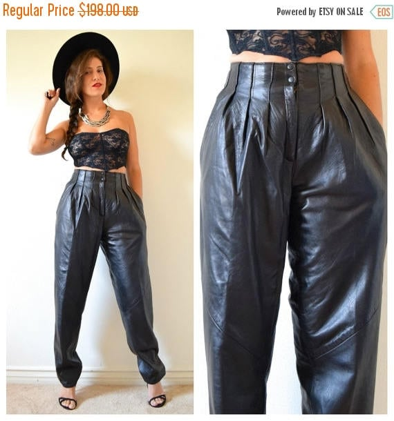 SUMMER SALE/ 30% off Vintage 80s 90s High Waisted Pleated Black Leather Trousers (size small, medium)