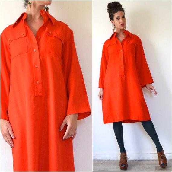 Vintage 80s 90s Calvin Klein Pumpkin Orange Linen Minimalist Bell Sleeve Shirt Dress