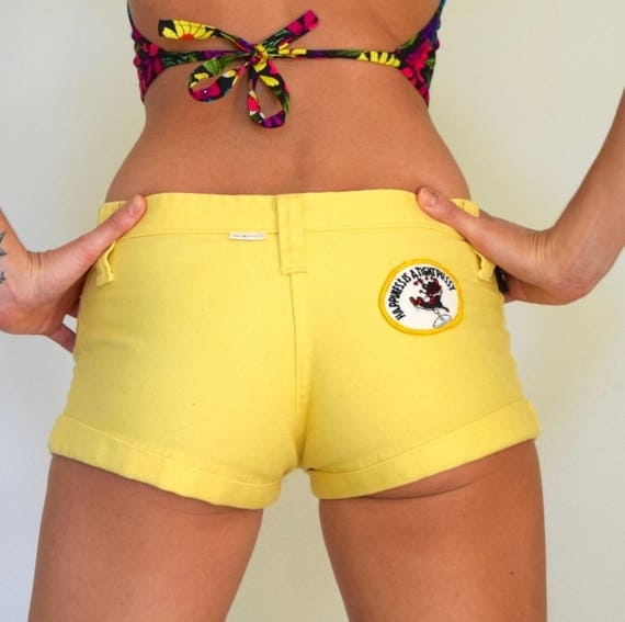 Vintage 70s Dittos Happiness is a Tight Pussy Sunny Yellow Low Ride Short Shorts (size small)