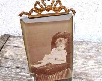 Vintage Antique Victorian 1890/1900  French ormolu brass & glass Photo Frame  Bow at the top