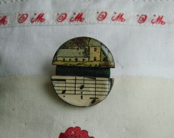 Brooch - Antique paper and wooden chips brooch - Handmade jewelry - handmade brooch -  1930 graphic - church and music