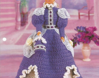 Violets and Lace, Fashion Doll Dress, Crochet Dress, Annies Fashion Doll Clothing, Doll Dress, Leaflet, 1996, Joyce Bishop, Crochet Pattern