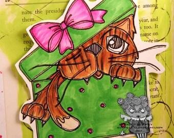 1694 Gift Box Kitty Digi Stamp