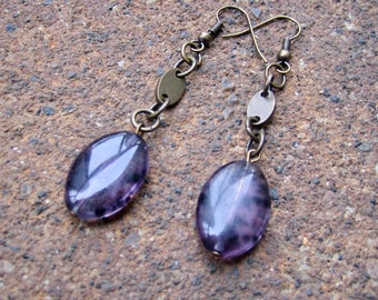 Eco-Friendly Dangle Earrings - Purple Haze  - Recycled Vintage Brass and Purple Glass Beads with Splashes of Black
