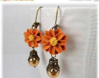 30% OFF SUMMER SALE Vintage Style Orange Flower Earrings