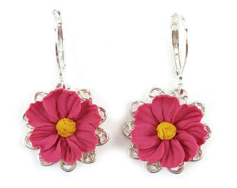 Cosmos Filigree Earrings - Cosmos Vintage Style Earrings, Cosmos Flower Jewelry, Pink Flower Jewelry, Pink Cosmos