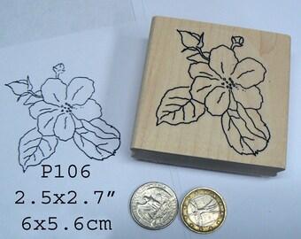 P106 Rosehip flower blossom rubber stamp