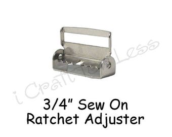 "100 Suspender / Sew On Ratchet  with Teeth - Slide / Strap Adjuster - 3/4"" Metal - SEE COUPON"