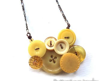 Small Honey Gold and Mustard Yellow Vintage Button Necklace
