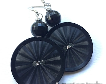 Large Black Vintage Button Earrings with Beads