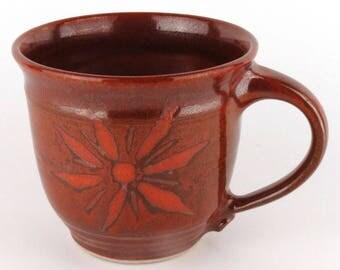 Stoneware Mug - 16 oz. - Coffee Cup - Latte Mug - Tea Cup - Brick Red - Terracotta / Handmade wheel thrown pottery