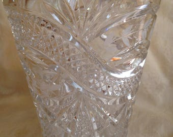"Vintage Clear Cut Crystal Glass Frosted Leaf Design 8"" Tall Heavy Vase EUC"