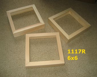 Three 6x6 picture frames with DEEP rabbet for canvases , unfinished  wood