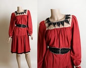 Vintage 1970s Dress - Hippie Boho Rust Red Indian Rayon Leaf Cut-Out Tent Dress - Autumn Fall Fashion - Bohemian Gypsy - Large