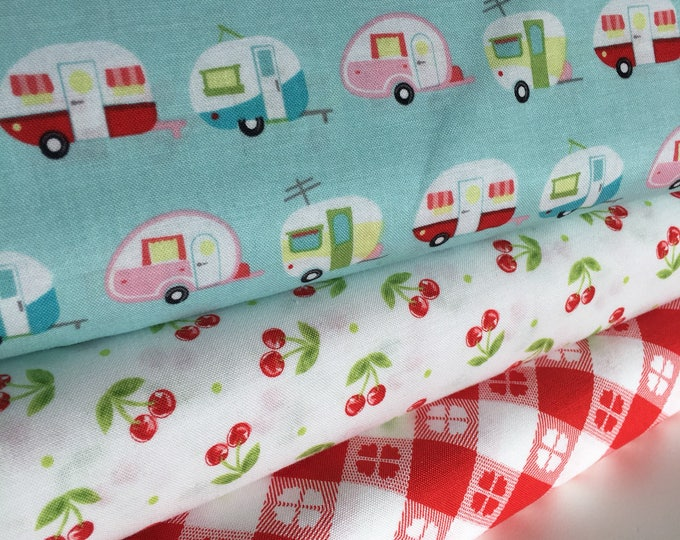 Glamping fabric, Fabricshoppe GlamperLicious fabric, Camping Camper Aqua fabric, Camp Hike, Vintage Camper Aqua by Riley Blake, Bundle of 3