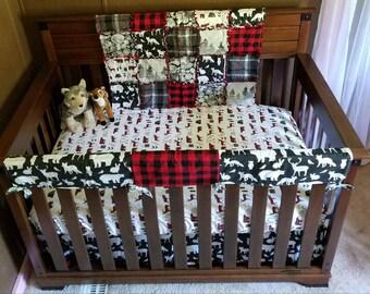 Custom MOD Woodland Bear & Deer Arrows Grey Red and Black Buffalo Plaid Baby Nursery Crib Bedding Set MADE To ORDER