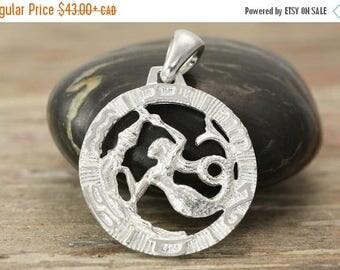 MATERNITY LEAVE SALE Aquarius zodiac pendant in oxidized silver