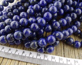 10mm Lapis Lazuli Beads, Blue Lapis Beads 10mm, Lapis Lazuli, Pyrite Flecks, Natural Gemstone, 10 mm Natural Lapis Beads, Large Beads