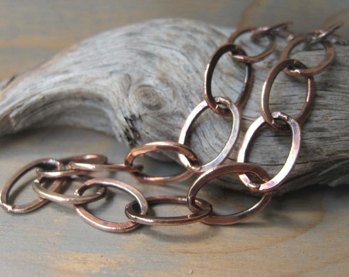 Featured listing image: Copper Cable Chain Necklace Oxidized Chain Bracelet 8x12mm Oval Link Chain Item No. J6806