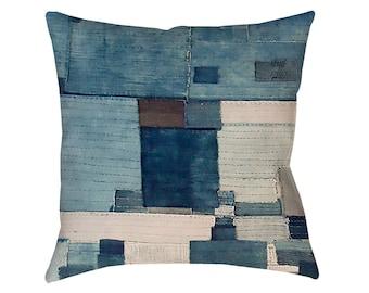 Japanese Boro 3 Printed Pillow Bohemian Pillow Japanese Indigo Boro Boho Chic Decorative Pillow Blue Denim Modern Home Decor