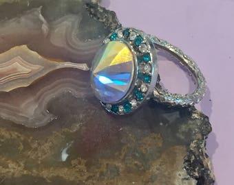 Dara Ettinger Silver Plated BETH Aurora Borealis Cubic Zirconium Ring in Teal Multi sz 4.75