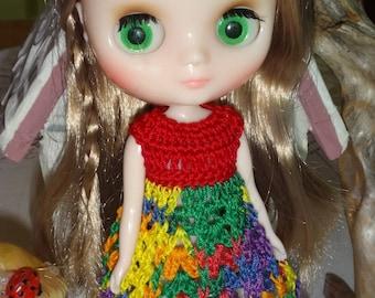 Crochet Dress Flared Skirt for 8 inch 20cm Blythe Middie doll Fiesta Red Blue yellow green purple orange