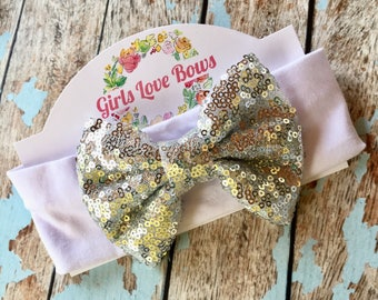 Silver Sequin Bow on White Headband for baby toddler little girl