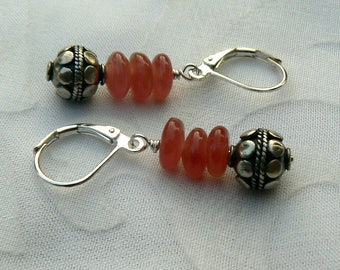 RESERVED FOR SHAY - Rhodocrosite with Sterling Silver Earrings