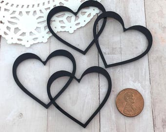 GLOSSY BLACK HEARTS - Cut Outs - Laser Cut Acrylic