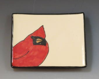 Handbuilt Ceramic Soap Dish with Bird - Cardinal